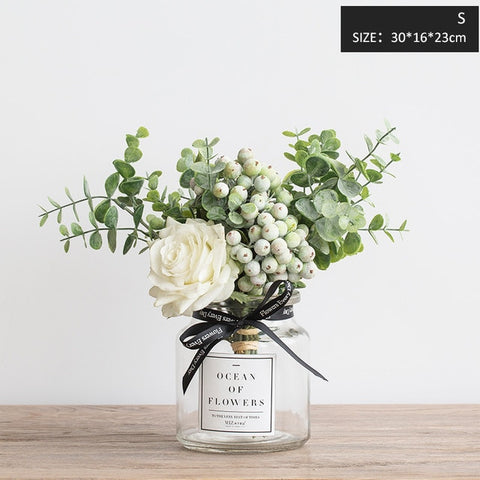 Image of Miz Artificial Flowers for Wedding Vases for Flowers Home Decor Artificial Flower Bouquet with Vase Wedding Table Decoration