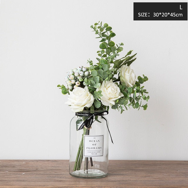 Miz Artificial Flowers for Wedding Vases for Flowers Home Decor Artificial Flower Bouquet with Vase Wedding Table Decoration