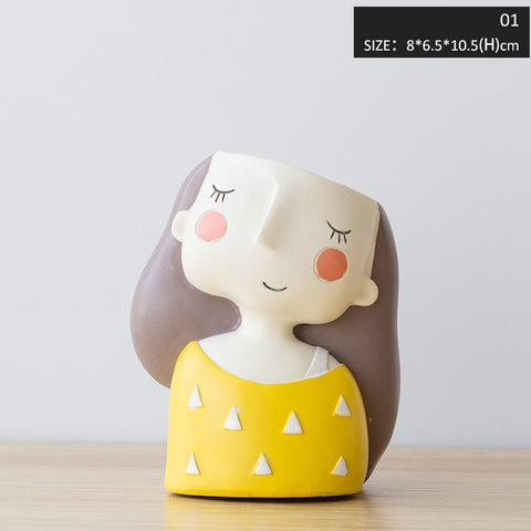 Image of Miz Flower Home Garden Home Decoration Planter Pot Cute Girl Flowerpot Planter Desktop Vase Home Office Accessories Bonsai Pot