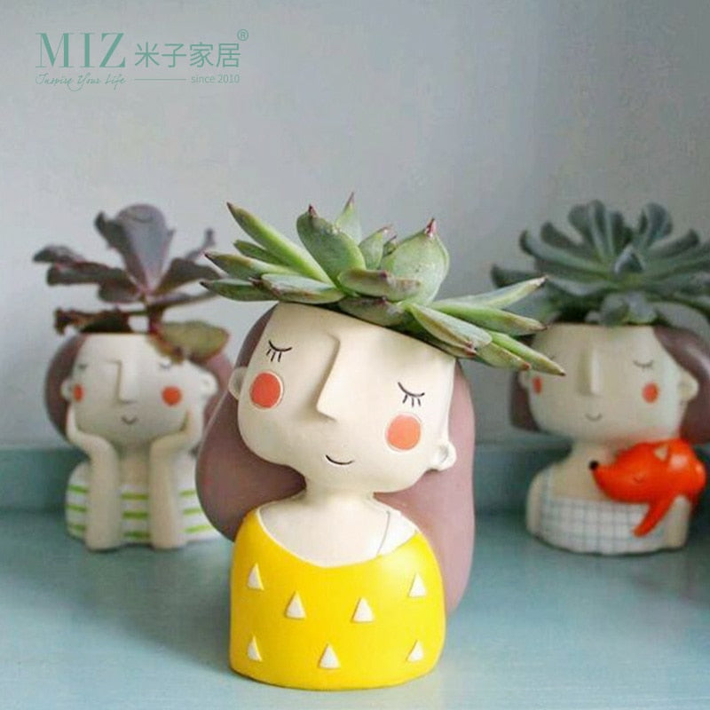 Miz Flower Home Garden Home Decoration Planter Pot Cute Girl Flowerpot Planter Desktop Vase Home Office Accessories Bonsai Pot