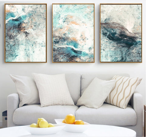 Image of Modern Simplicity of Abstract Canvas Paintings Modular Pictures Wall Art Canvas for Living Room Decoration, No Frame
