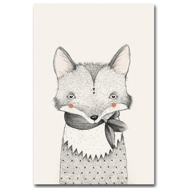Nordic Art Bear Fox Canvas Poster Painting Cartoon Animal Wall Picture Print Children Baby Room Decoration