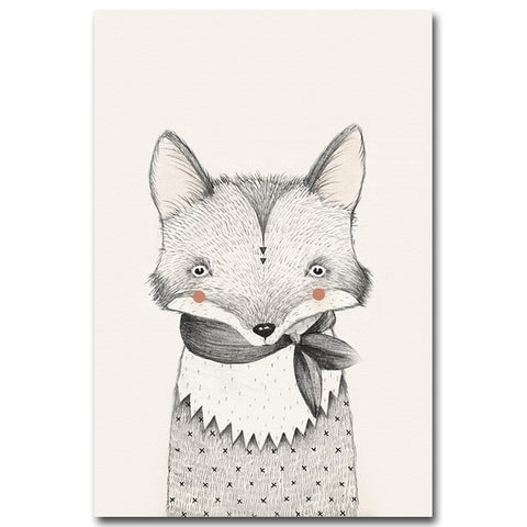Image of Nordic Art Bear Fox Canvas Poster Painting Cartoon Animal Wall Picture Print Children Baby Room Decoration