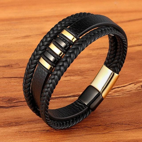 3 Layers Black Gold Punk Style Design Genuine Leather Bracelet for Men Steel Magnetic Button Male Bracelets