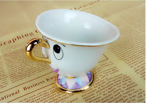 New Arrival Cute Cartoon Beauty And The Beast Teapot Mug Mrs Potts Chip Cup Tea Pot Cup Set Nice Xmas Gift Free Shipping