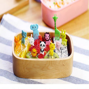 Mini Animal  Cartoon Food Fork Fruit Pick Sign Bento Lunches Party Decor Vegetable Tableware Dinnerware 10pcs/set