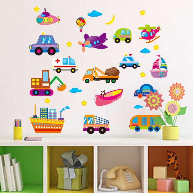 New Cartoon Car Wall Decoration Stickers For Kids Room Self Adhesive Track Tree Vinyl Poster Mural Removable Decal Gift For Baby