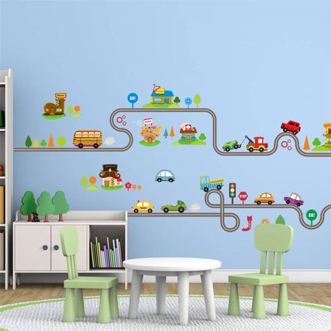 Image of New Cartoon Car Wall Decoration Stickers For Kids Room Self Adhesive Track Tree Vinyl Poster Mural Removable Decal Gift For Baby