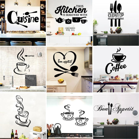 Image of Kitchen Wall Sticker Cuisine Coffee Vinyl Stickers house Decoration Accessories Mural Decor Wallpaper wall-sticker