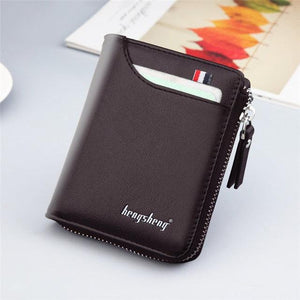 Casual men's wallet Short vertical casual multi-function card bag zipper buckle triangle folding wallet