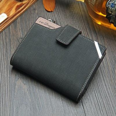 Image of Casual men's wallet Short vertical casual multi-function card bag zipper buckle triangle folding wallet