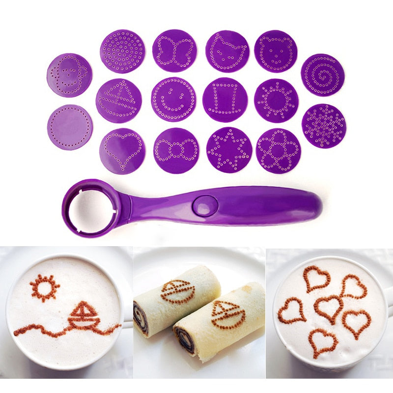 Magic Spice Spoon Food Decorating Tools 16 Different Images Decor Coffee Cake Foods Piping Spoons Kitchen Tool