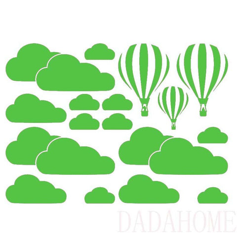 Image of White Clouds Hot Air Balloon Wall Sticker For Kids Rooms Art Background Wall Stickers Home Decor Living Room Mural Decals