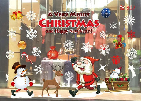 Image of New Year Window Glass PVC Wall Sticker  Christmas DIY Snow Town Wall Stickers Home Decal Christmas Decoration for Home Supplies