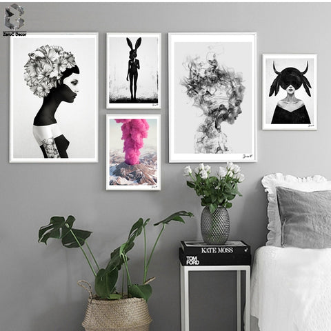 Image of Nordic Cuadros Posters And Prints Black White Wall Art Canvas Painting Girl Picture For Living Room  Scandinavian Home Decor
