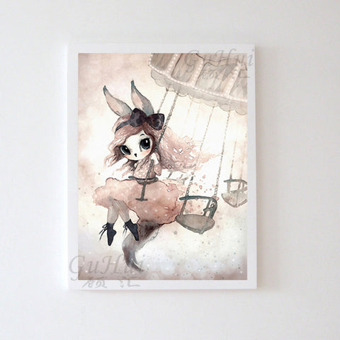 Image of Nordic Fairy Forest Cartoon Rabbit Elf Boy and Girls Angel Canvas Painting Watercolor Deer Poster Baby Room Decor Wall Picture