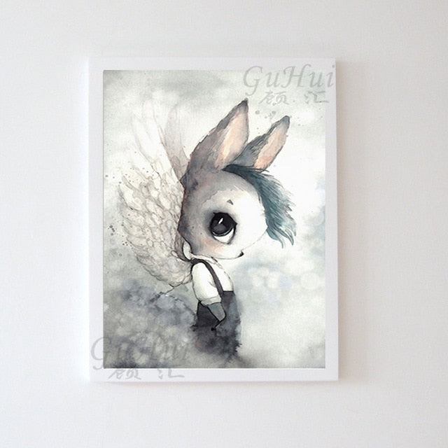 Nordic Fairy Forest Cartoon Rabbit Elf Boy and Girls Angel Canvas Painting Watercolor Deer Poster Baby Room Decor Wall Picture