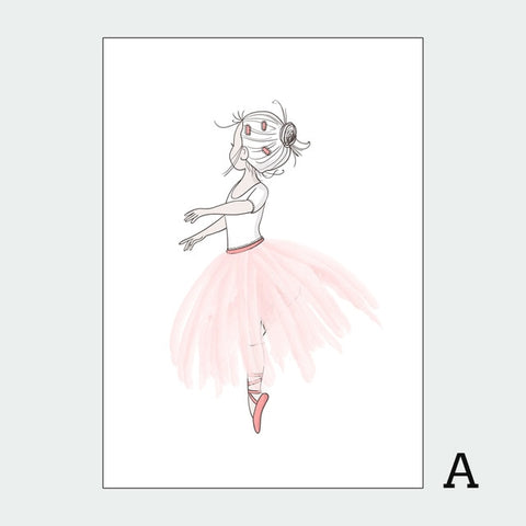 Image of Nordic Style Kids Decoration Ballet Poster Pink Swan Wall Art Canvas Painting Posters And Prints Baby Girl Room Decor Unframed