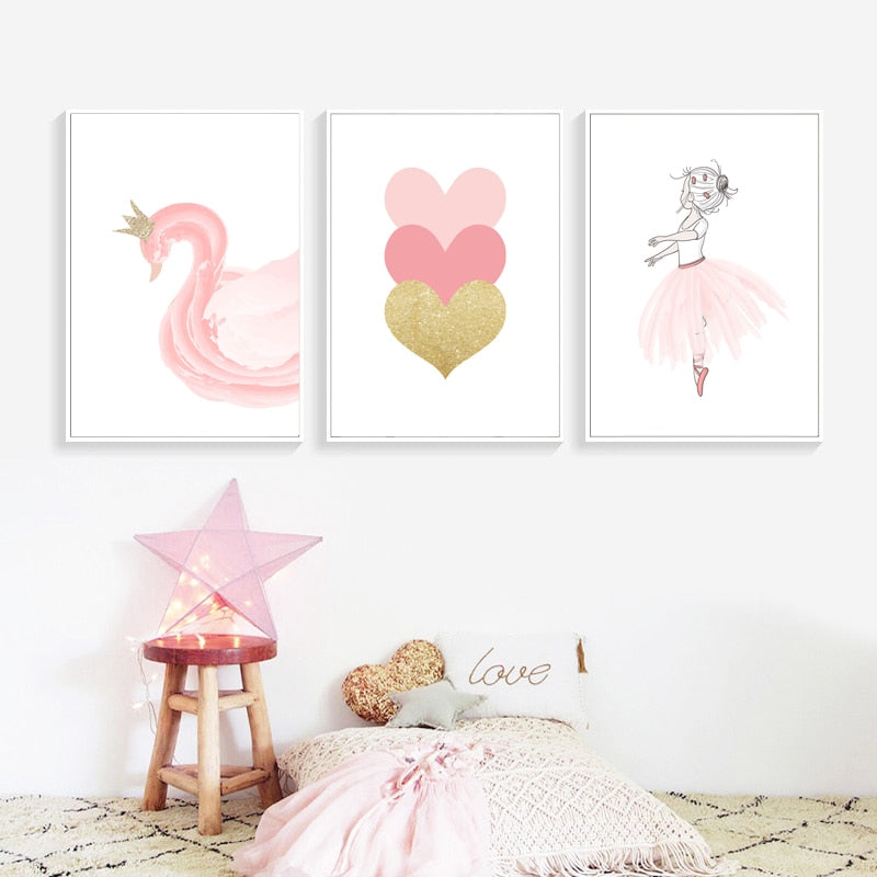 Nordic Style Kids Decoration Ballet Poster Pink Swan Wall Art Canvas Painting Posters And Prints Baby Girl Room Decor Unframed
