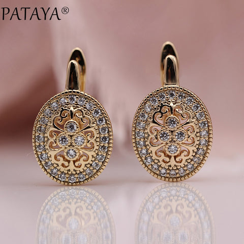 PATAYA Micro Wax Inlay Hollow Drop Earrings Women Luxury Wedding Fashion Jewelry 585 Rose Gold Natural Zircon Flower Earring