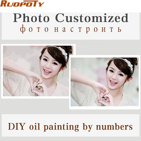 Image of Personality Photo Customized Your Own DIY Oil Painting By Numbers Picture Drawing Canvas Portrait Wedding Family Children Photos