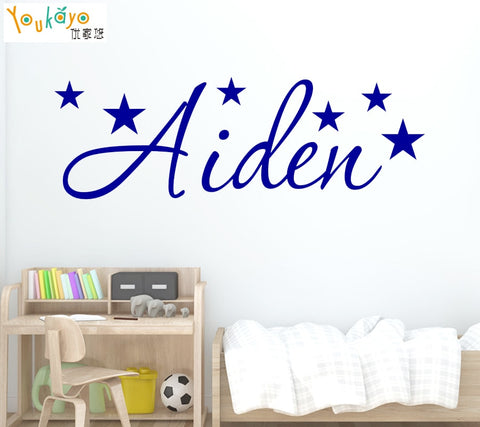 Image of Personalized Name Stars Wall Sticker - Art Decal Boy or Girls Children's Room Kids Rooms