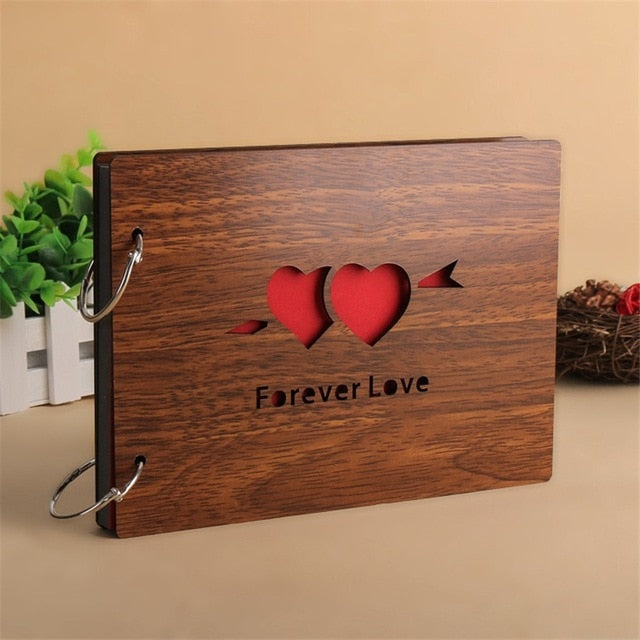 Photo Albums 8 Inch Hot Red Wood Cover Albums Handmade Loose-leaf Pasted Photo Album Personalized Baby Lovers DIY Photo Album