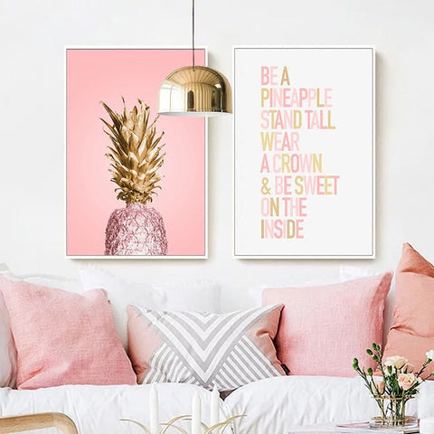 Image of Pink Ananas Posters Plants Pineapple Wall Art Pictures Nordic Canvas Landscape Painting Modern Living Room Print Home Decoration