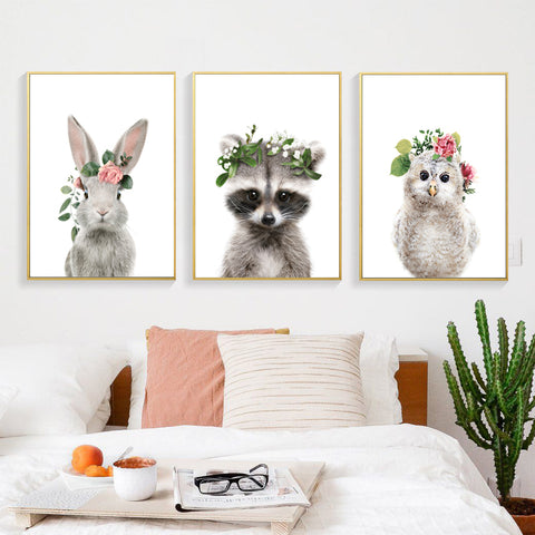 Image of Poster Cartoon Animal Wall Art Canvas Painting Rabbit Nordic Style Kids Decoration Baby Room Decor Posters And Prints Unframed