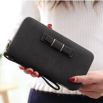 Image of Purse bow wallet female famous brand card holders cellphone pocket PU leather women money bag clutch women wallet 505