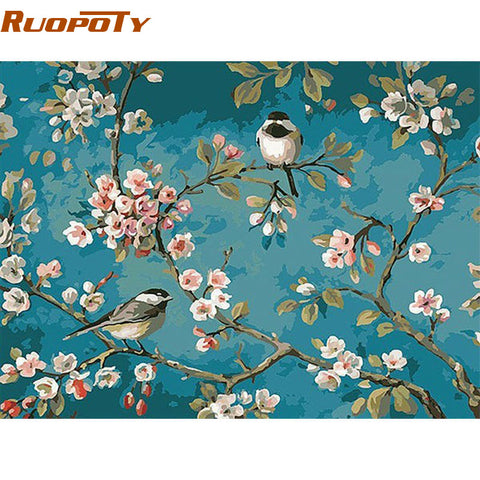 Image of RUOPOTY Birds And Flower DIY Painting By  Numbers Kits Drawing On Canvas Home Wall Art Decor Handpainted Painting For Artwork