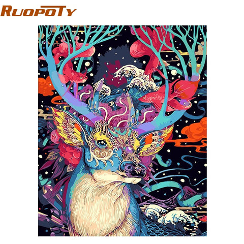 Image of RUOPOTY Christmas Deer DIY Painting By Numbers Animals Acrylic Paint By Numbers Handpainted Oil Painting Wall Art Picture 40X50