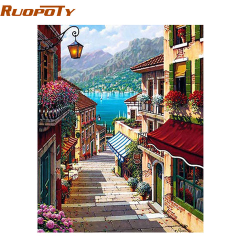 Image of RUOPOTY Frame 40x50cm Coffee Town Landscape Painting By Numbers Wall Art Diy Oil Painting Home Decor For Room Decoration