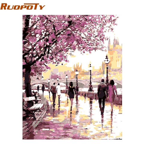 Image of RUOPOTY Frame Cherry Blossoms Road Diy Oil Painting By Numbers Kits Wall Art Picture Home Decor Acrylic Paint On Canvas For Arts