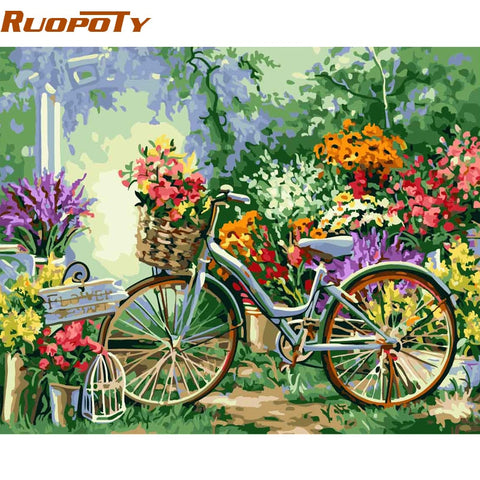 Image of RUOPOTY Frame DIY Painting By Numbers Bicycle Flowers Kits Acrylic Paint By Numbers Hand painted Oil Painting For Home Decor
