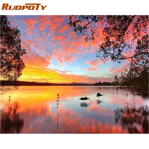 Image of RUOPOTY Frame Swan Animals DIY Painting By Numbers Wall Art Picture Acrylic Canvas Painting For Wedding Decoration
