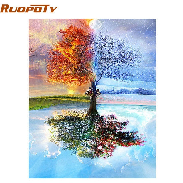 RUOPOTY Frame Swan Animals DIY Painting By Numbers Wall Art Picture Acrylic Canvas Painting For Wedding Decoration