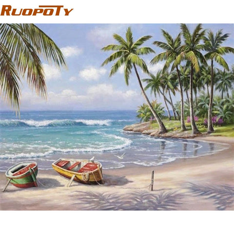 Image of RUOPOTY Seascape DIY Painting By Numbers Wall Art Decor Handpainted Modern Oil Painting On Canvas For Living Room Gift Artwork