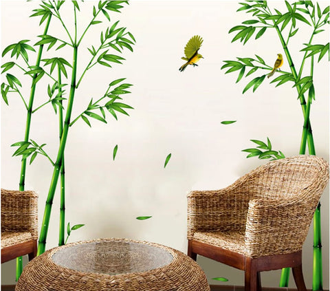 Image of Removable Green Bamboo Forest Depths Wall Sticker Creative Chinese Style DIY Tree Home Decor Decals for Living Room Decoration