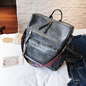 Retro Large Backpack Women PU Leather Rucksack Women's Knapsack Travel Backpacks Shoulder School Bags