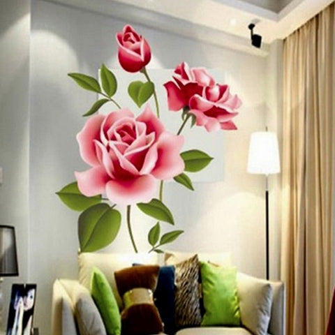 Image of Romantic Love 3D Rose Flower Blossom Wall Stickers Furnishings  Living Room TV Decoration Wall Sticker Home Decor Decal Art
