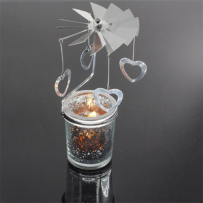 Romantic Rotary Spinning Tealight Candle Metal Tea Light Holder Carousel Home Decoration