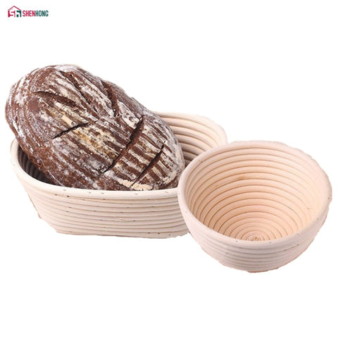Image of Various Shapes Fermentation Rattan Basket Country Bread Baguette Dough Banneton Brotform Proving Baskets