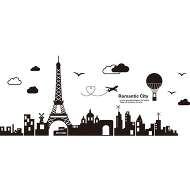 World Map Wall Stickers DIY Europe Style Buildings Mural Decals for House Living Room Bedroom Office Decoration