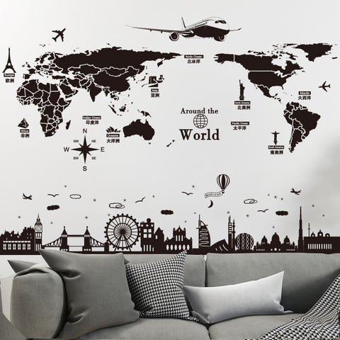 Image of World Map Wall Stickers DIY Europe Style Buildings Mural Decals for House Living Room Bedroom Office Decoration