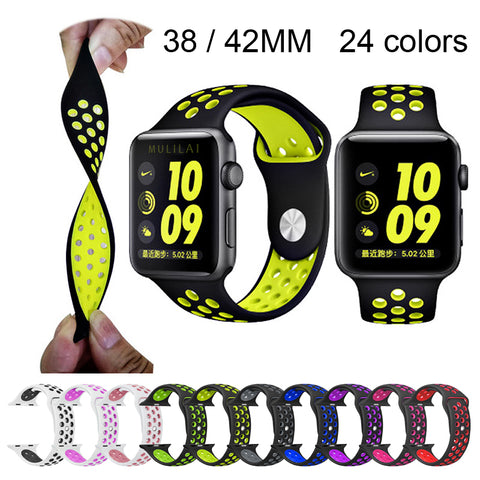 Image of Silicone strap for Apple Watch Band 42mm Bracelet 40mm 44mm for Apple Watch Strap Rubber iwatch band 4/3/2 38MM Sport Wristbands