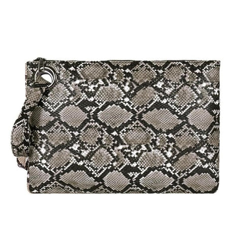 Image of Snake Print Wristlet Clutch Women Daily Makeup Bags Purse Soft PU Leather Money Phone Pouch Casual Wallet