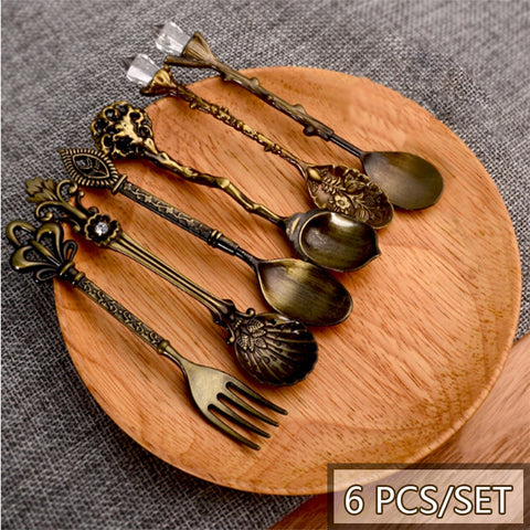 Image of Spoon Coffee Spoon Set Vintage Table Spoon Antique Tea Spoons Coffee Royal Style Metal Carved Fork Tablespoons 6 Pcs/Set 20%