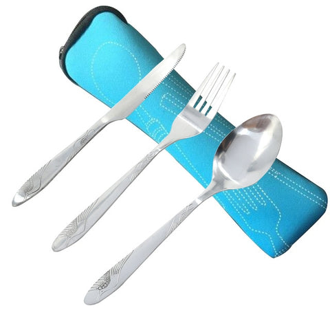 Image of Stainless Steel Cutlery Set Dinnerware Sets Lightweight Portable Travel Tableware Set with Cloth Bag Lunch Tools Set