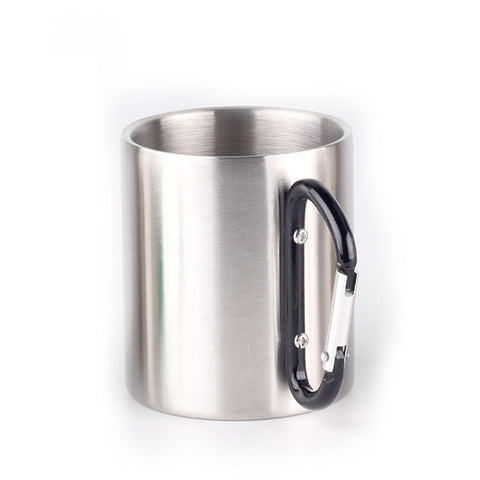 Image of Stainless Steel Double Walled Mugs, Hiking, Travel Cups, Metal Mugs with Carabiner Handle